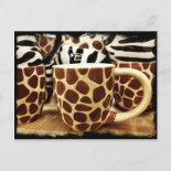 Cool Giraffe Pattern and Zebra Stripes Coffee Mugs Postcards