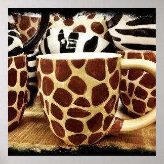Cool Giraffe Pattern and Zebra Stripes Coffee Mugs Poster
