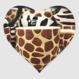 Cool Giraffe Pattern and Zebra Stripes Coffee Mugs Heart Stickers