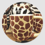 Cool Giraffe Pattern and Zebra Stripes Coffee Mugs Round Sticker