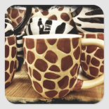 Cool Giraffe Pattern and Zebra Stripes Coffee Mugs Square Stickers