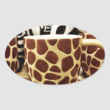 Cool Giraffe Pattern and Zebra Stripes Coffee Mugs Oval Stickers