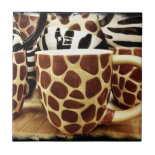 Cool Giraffe Pattern and Zebra Stripes Coffee Mugs Ceramic Tiles