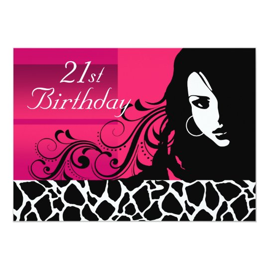Cool Girl 21st Birthday Party Card