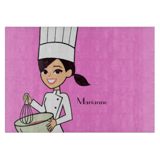 Cool Girl Chef Cutting Board with Name