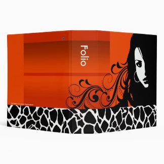 Cool Girl Giraffe Fashion Design Folio (orange) 3 Ring Binder