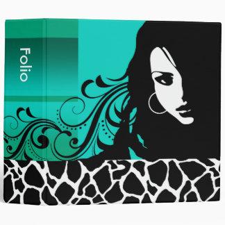 Cool Girl Giraffe Fashion Design Portfolio (aqua) Vinyl Binder