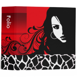 Cool Girl Giraffe Fashion Design Portfolio (red) Vinyl Binder