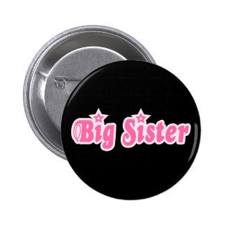 Cool girlie big sister pink text design on black pinback button