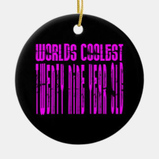 Cool Girls 29th : Pink Worlds Coolest Twenty Nine Double-Sided Ceramic Round Christmas Ornament