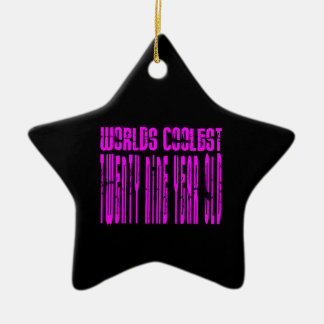 Cool Girls 29th : Pink Worlds Coolest Twenty Nine Double-Sided Star Ceramic Christmas Ornament
