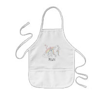 Cool Girl's Doodle Rainbow Unicorn with Name Kids' Apron