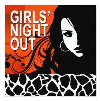Cool Girls Night Out Party (persimmon) 5.25x5.25 Square Paper Invitation Card
