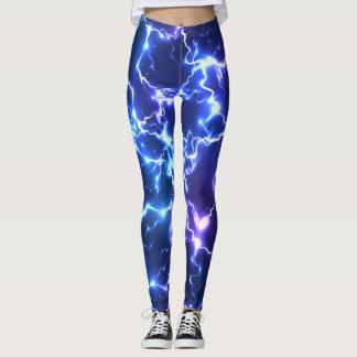 Cool Girly Blue White Purple Lightning Pattern Leggings
