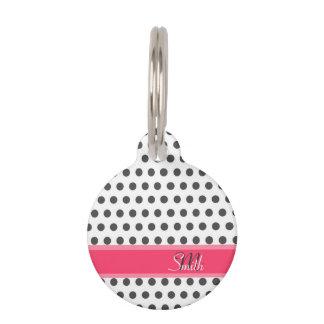 Cool girly monogram grey large polka dots pattern pet nametags