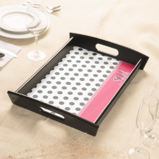Cool girly monogram grey large polka dots pattern serving tray