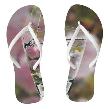 Cool Girly Pink Cherry Tree Blossoms In Glass Flip Flops