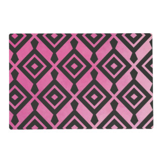 Cool Girly Pink Ikat Aztec Pattern Placemat