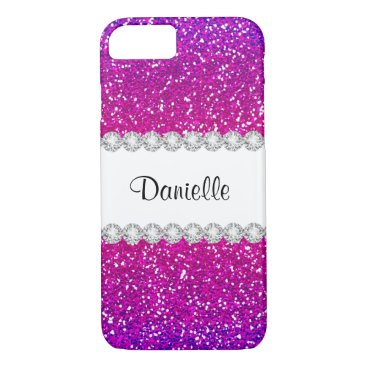 Beach Themed Cool Girly Pink Purple Glitter Bling iPhone 7 Case