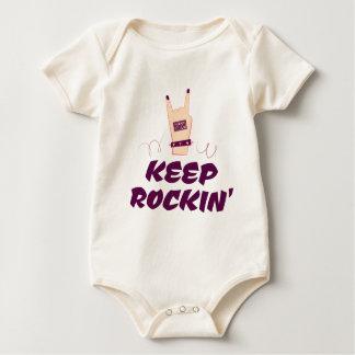 Cool Girly Rocking Punk Hand Keep Rockin' Rock On Baby Bodysuit