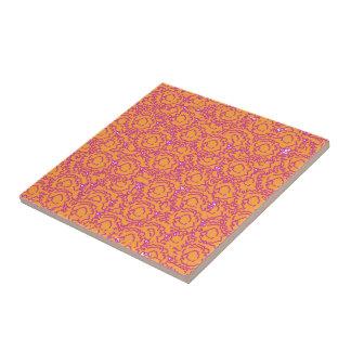 Cool girly swirls pink and orange pattern tile