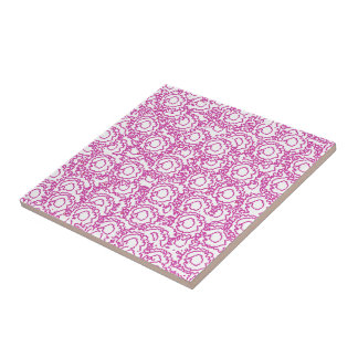 Cool girly swirls pink and white pattern tile