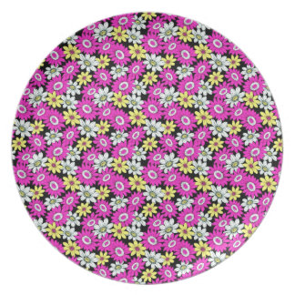 Cool girly vibrant floral flower ornament pattern melamine plate
