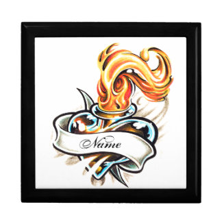 Cool Glass Heart and Flame Tattoo   gift box