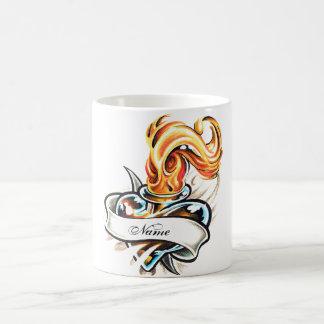 Cool Glass Heart and Flame Tattoo  mug