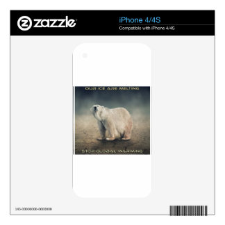 cool GLOBAL WARMING designs Skins For iPhone 4S