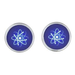 Cool Glowing Atom | Geek Gifts Silver Cufflinks