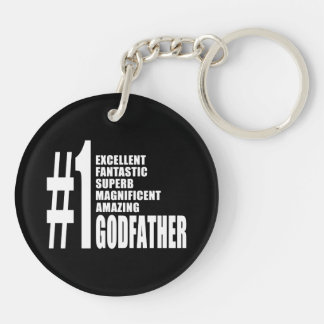 Cool Godfathers : Number One Godfather Double-Sided Round Acrylic Keychain