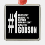 Cool Godsons : Number One Godson Square Metal Christmas Ornament