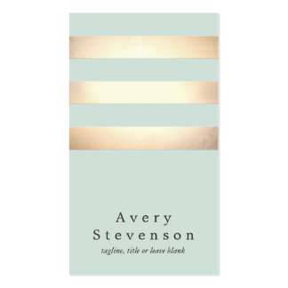 Cool Gold and Aqua Striped Modern NOT REAL FOIL Business Card Templates