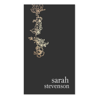 Cool Gold and Black Hand Drawn Floral Vine Double-Sided Standard Business Cards (Pack Of 100)