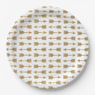 Cool Gold Brown Arrows Glitter Photo Print Paper Plate