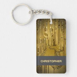 Cool Gold Computer Circuit Board Monogram Keychain