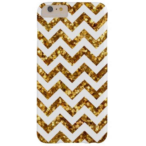 Cool Gold Glitter White Chevron iPhone 6 Plus Case