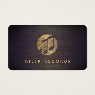 Cool Gold Music Notes Logo Retro Musician Business Card