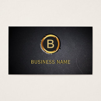 Cool Gold Ring Monogram Coal Black Business Card