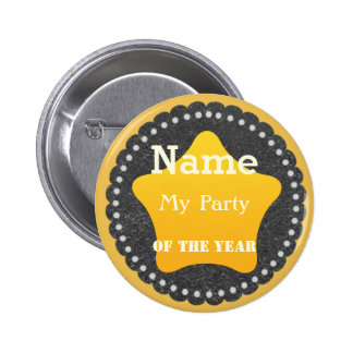 Cool  Gold Star Party Badge Button