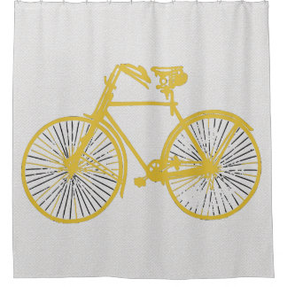 Perfect Cool Gold Yellow Bicycle Shower Curtain