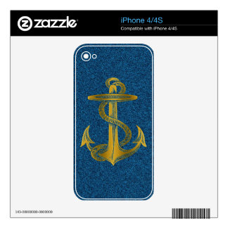 cool golden anchor effect on blue glitter skin for the iPhone 4