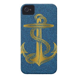 cool golden anchor on blue glitter iPhone 4 case