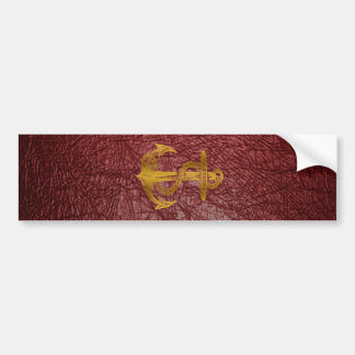 cool golden anchor on red leather effect bumper sticker
