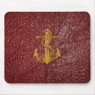 cool golden anchor on red leather effect mouse pad