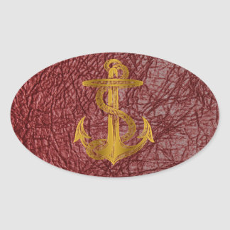 cool golden anchor on red leather effect oval sticker