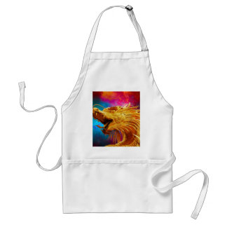 Cool Golden Dragon colourful Thailand background Adult Apron