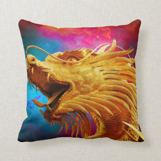 Cool Golden Dragon colourful Thailand background Pillow