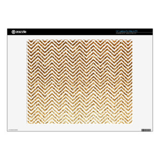 Cool Golden Glitter Chevron Pattern Decals For Laptops
